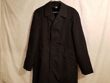 USED BLACK OVERCOAT W/ FUR LINING 36 CHEST x 17 SLEEVE DEFECT GLUE MARKS INSIDE