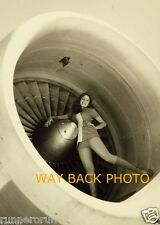"""5"""" by 7"""" B & W PHOTO REPRINT - PSA AIRLINES STEWARDESS - SUGGESTIVE POSE"""