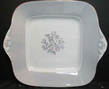 Wedgwood Grey Friar Bone China Pink Flower W3761 Square Handled Cake Plate
