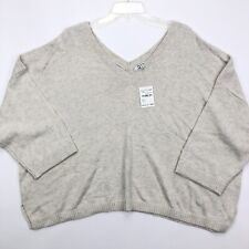 Madewell Womens Cream Double V Pullover Sweater Knit 3/4 Sleeves Sz 3x G3942