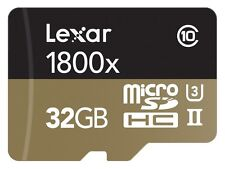 32GB Lexar Professional 1800x Class 10 microSDXC UHS-II/U3 4k Flash Memory Card