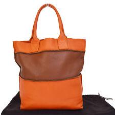 Authentic BOTTEGA VENETA Hand Tote Bag Leather Orange Brown Made In Italy 66F199