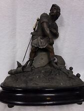 Antique bronze spelter crusades soldier statue figure signed