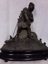 Antique bronze spelter crusades soldier statue figure signed