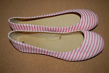 Womens Casual Ballet Flats OFF WHITE & PINK STRIPES Canvas Fabric SIZE 10