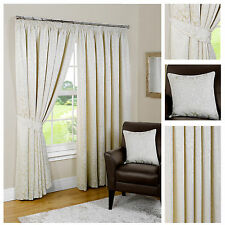 Pompeii Natural Lined Pencil Pleat Curtains Inc Tie Backs-FREE DELIVERY-TO CLEAR
