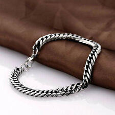 Men's Stainless Steel Chain Link Bracelet Wristband Silver Bangle Jewelry Punk