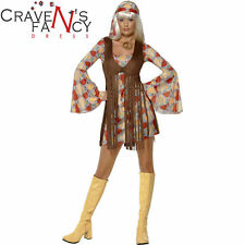 Ladies 60s 70s Hippie Fringed Costume Groovy Baby Fancy Dress Outfit Woodstock