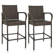 "2 PCS Wicker Bar Stool Dining High Counter Chair Patio Furniture Armrest 46"" H"