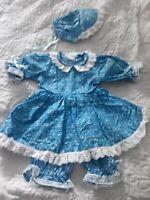 DOLL OUTFIT TEDDY BEAR 21 INCH BABYDOLL DRESS PANTALOONS BONNET SET Blue & White
