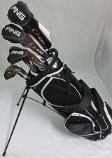 Mens RH Ping Golf Set Driver, Wood, Hybrid, Irons Putter Clubs Stand Bag Stiff