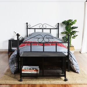 Single Bed Solid 3ft Metal Beds Frame Bedstead Base with Large Storage Space New