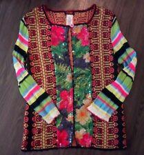 Bazar Christian Lacroix Sequin Floral Stripe Cardigan Sweater Top M