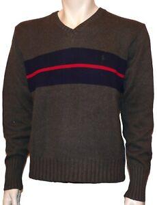 Mens Ralph Lauren Jumper, Grey/Navy/Red, Size Medium, RRP £95
