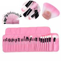 32 Pcs Woman  Make Up Brush Blush Foundation  Brush Set with Case Bag Pink US