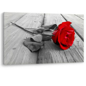 Red Rose on Wood Valentine Love Flower Framed Canvas Wall Art Picture Print