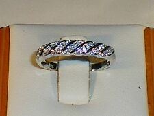 Ladies 925 Solid Fine Silver With Platinum Finish White Sapphire Dress Ring
