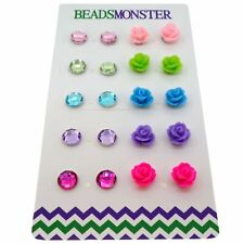 Color Rhinestone and Rose Flower Beads Magnetic Clip-on Stud Earrings Gift Set