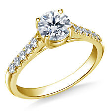 0.70 Carat Round Diamond Engagement Rings 14K Yellow Gold Size I J K L N O P