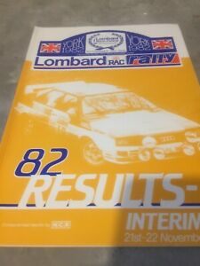 1982 LOMBARD RAC RALLY OFFICIAL RESULTS BOOK  EX JIM PORTER