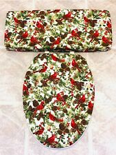 Red Cardinal Christmas Bathroom Decor Elongated Toilet Seat & Tank Lid Cover Set