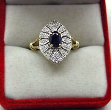 Beautiful 9ct Gold large Sapphire And Diamond Dress Ring