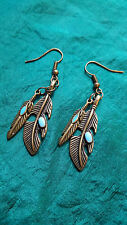 Native navajo indian double boucles d'oreilles plume turquoise faits saillants bronze looking