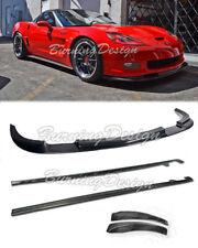 Fits 05-13 Corvette C6 Carbon Fiber Front Lip Splitter & Side Skirts Z06 ZR1