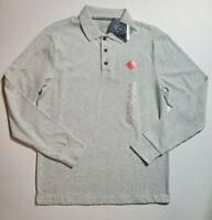 St Johns Bay Men's Oatmeal Heather Long Sleeve Legacy Polo Shirt S M L XL NWT