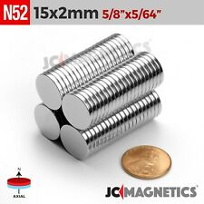 "12 100 500pc 15mm x 2mm 5/8"" x 5/64"" N52 Strong Rare Earth Neodymium Magnet Disc"