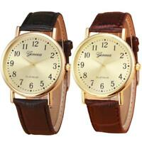 Fashion Women Mens Watch Leather Band Analog Stainless Quartz Wrist Watches Gift