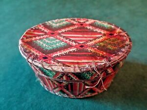 "ANTIQUE HANDMADE PAPERED OVAL BOX, SEWING, OPENING ON BOTTOM, STITCHED, 2.5"" L"