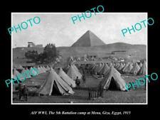 OLD POSTCARD SIZE PHOTO OF AUSTRALIAN ANZAC TH 5th BATTALION CAMP GIZA c1915