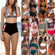 femme taille haute maillot de bain Ensemble bikini bandage plage 6-18