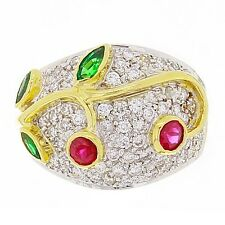 14k Yellow Gold Diamond and Emerald Ring Size 7