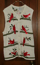 UGLY CHRISTMAS SWEATER 18W/20W VEST CARDINALS WITH EMBELISHMENTS