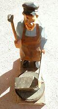 "Vtg. 1932 Sweden Caricature Wood Carving Figure of Blacksmith 8.5"" tall"