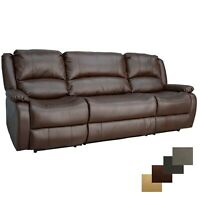 """RecPro Charles 94"""" Double Wall Hugger Recliner w Console Mahogany RV Furniture"""