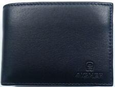 Aigner Herren Geldbörse Portemonnaie schwarz Leder kleine Kombigeldbörse 11x8 cm