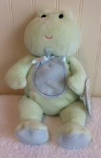 "Carters Just One Year Green Frog Plush Baby Lovey Toy Blue Belly NWT 8"" 2007"