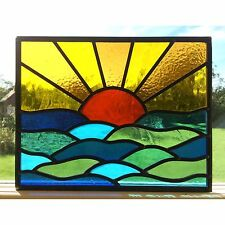 Hand Crafted Stained Glass Window Door Panels Sun Set Sea Commissioned Windows