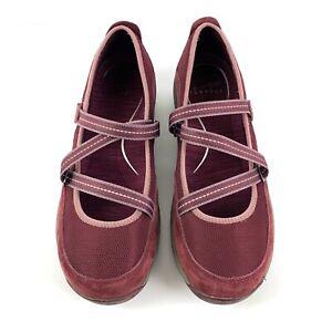 Dansko Hazel Maryjane Shoe 40 Wine Burgundy Suede Leather Mesh Womens Comfort