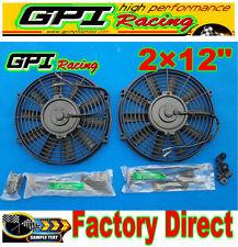 "2 × 12"" inch 12V Universal Electric Radiator RACING COOLING Fan + mounting kit"