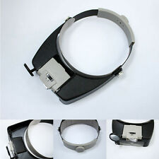 Headband Headset LED Head Lamp Visor Jeweler Magnifier Magnifying Glass Loupe AA