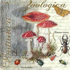 5 SERVIETTEN NAPKINS FLY AGARIC AND BEETLE 25X25 FLIEGENPILZ KÄFER SCHMETTERLING