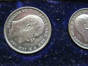 1903 EDWARD VII SILVER 4 COIN MAUNDY SET IN ORIGINAL RED LEATHER CASE, Toned.