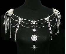 Bridal Crystal Rhinestone Shoulder Chain Necklace Earring Jewelry Wedding