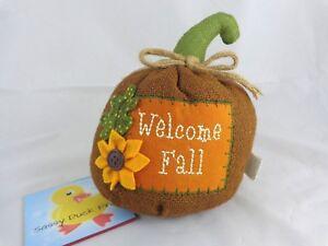 "Decorative Plush Pumpkin 7"" WELCOME FALL Rustic Brown Burlap Sunflower Leaf"