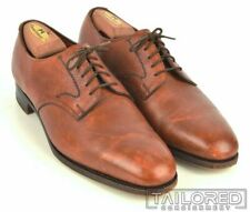 CARROLL & CO Edward Green Brown Leather Plain Toe Blucher PTB Dress Shoes - 9 C