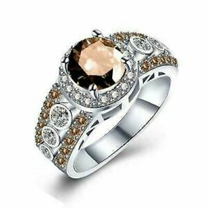 Round Cut Chocolate & Champagne CZ Women Fashion Jewelry Ring